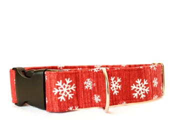 New Red Snowflake Dog Collar, Fabric Custom Adjustable, buckle and martingale collar