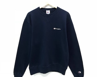 Rare!!! Vintage Champion Sweatshirt Small Logo Spell out Embroidery Sweatshirt Pullover Jumper Sweater Crew Neck Size L