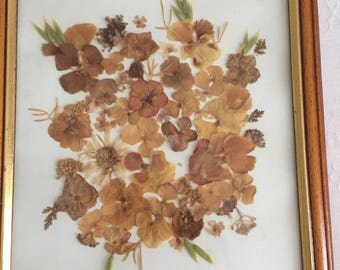 Pressed flowers / shabby wall hanging