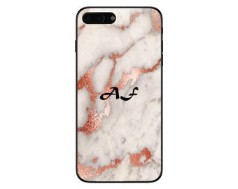 Personalised Rose Gold Marble Single Initials Phone Case for Apple iPhone and Samsung Galaxy 5 6 6s 7 8 10