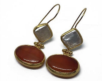 Red Natural Stone Earrings