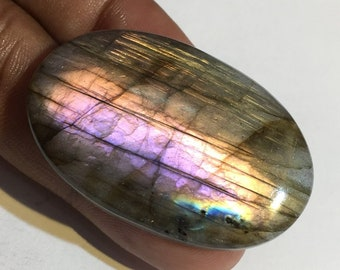 73.2 Cts 100% Natural Medagascar's Labradorite Cabochon Purple Multi Fire Polished Cabochon Healing Quartz Oval Shape 43x27x7 mm N#1477-7