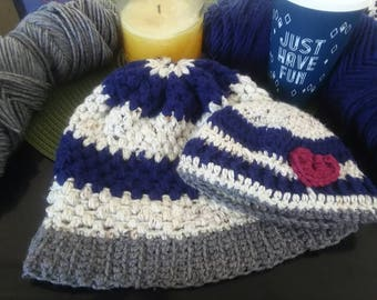 Customizable Matching Mama & Baby Slouchy Winter Beanie Combo, Made To Order
