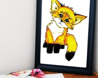 Fox Print-Fox Decor-Fox Wall Art-Fox Printable- Nursery Print-Cute Animal Art
