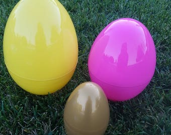 "3 Giant Easter Eggs Jumbo Plastic Basket 11""  9"" 6"" Gift Basket"