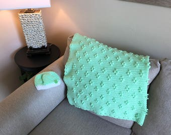 Green Mini-Dot Pattern Baby Blanket/Afghan with Hat