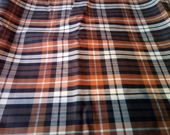 "Woven Polyester Orange, Black and white Tartan Fabric Sample 58"" x 60"""