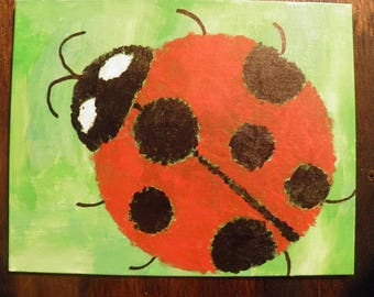 Hand Painted Lady Bug 8 x 10 Canvas