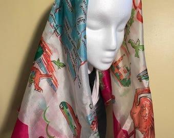 Large Vintage 50's Silk Florida // Destination // Vacation Silk Scarf
