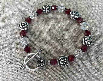 Swarovski crystal  and sterling silver roses beaded bracelet Red Clear Crystal Rose Toggle