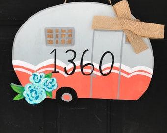 camper front door sign-camper sign-camper door hanger-camper door sign-camping lovers-front door camper- flower camper sign