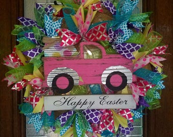 Wooden Easter Truck Wreath