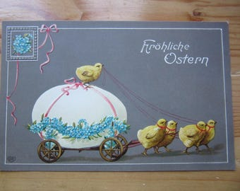 EASTER  Greeting  Postcard -  Chick on Egg   1920ies