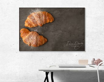 Top View of two fresh croissants dusted with icing sugar. Photo Wall Art Print