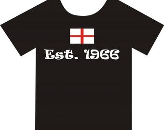 England 66, T-shirt. Available in colour black, in sizes Small, Medium, Large and Extra Large
