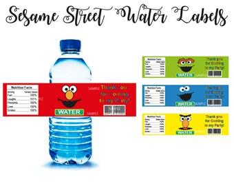Sesame Street Water, Elmo Water instant download, Sesame Street Water labels, Elmo Water wrappers, Sesame Street Labels, Elmo Water jpg