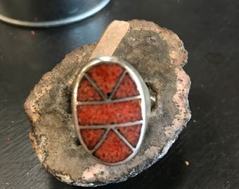 Large, crushed coral, silver ring