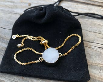 Druzy Round Pendant Bracelets