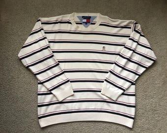 Men's Vintage 90s Tommy Hilfiger Striped Sweater Size Xl