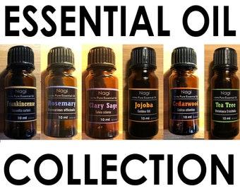Essential Oils Set of 6 Frankincense,Rosemary,Clary Sage,Jojoba,Cedarwood,Teatree Great Gift