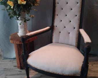 Vintage Custom High Back Diamond Pattern Chair