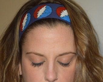 Grateful Dead 13 Point Lighting Bolt Blue Adjustable Headband