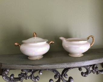 EGGSHELL NAUTILUS USA Vintage Creamer and Sugar Bowl