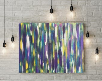 "Abstract Modern Art Acrylic Paint: ""Vibrations"" 16x20 Canvas"