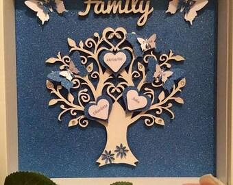 Personalised Family Tree Box Frame, Family Tree Frame, Family Tree Gift, Glitter Family Tree Frame, Glitter Family Box Frame