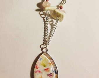 Pink silver necklace for girl fish and seaweed, natural quartz gemstone pendant