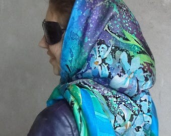 Hand Painted Silk Shawl