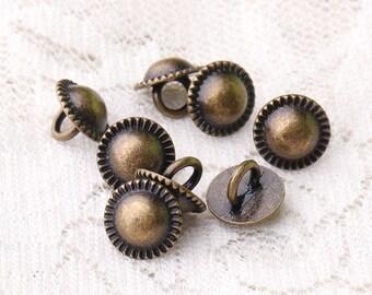 buttons metal buttons 10pcs 9*7mm tiny umbrella button metal zinc alloy shank buttons bronze buttons