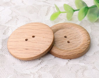 natural wood buttons 6pcs 40mm 2 hole sewing buttons round wooden buttons striped buttons coat clothing buttons