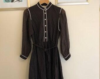 Brown & White Polka Dot Vintage Dress