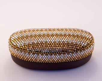 Diamante Bling Large Glasses Case in Gold and Silver