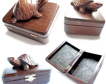 Luxury casket Turtle Jewelry organizer Rustic casket Carved Wooden jewelry box Jewelry box Jewelry casket Earrings and bracelets stora