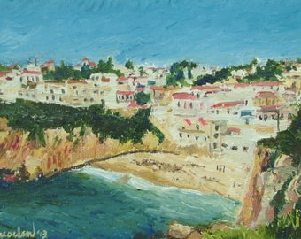Oil Painting landscape Algarve Portugal Small Impressionism Fine Art Signed Original