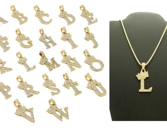 """New Custom Unisex Iced Out Alphabet Initial Letter Pendant 2mm 24"""" Box Chain Hip Hop Necklace"""