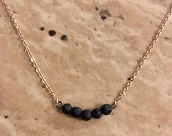 "18"" Rose Gold Lava Stone Bar Necklace"