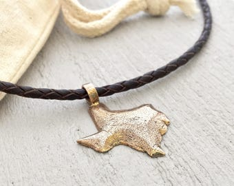 Texas necklace - TX - Lone Star State - going away - moving - leather necklace - US state jewelry