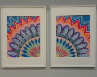 "BE Bold - custom, hand painted, 2 pc Mandala set (each pc 28""x20"") rainbow colors - wall decor"