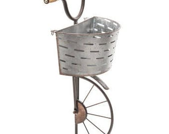 Galvanized hanging wall decor bicycle with olive basket