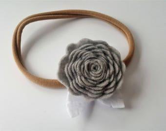 Grey Rose Headband