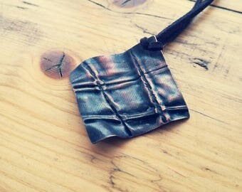 "Part of the ""Fabric"" collection. Unique square copper, fold formed pendant necklace."