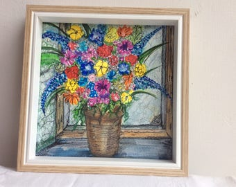 Flowers in old window