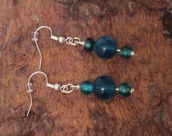 Handmade Silver Plated Teal coloured Earrings