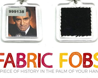 Cary Grant Personal Wardrobe Relic Keychain - North by Northwest - Fabric Fobs - Worn by Grant!