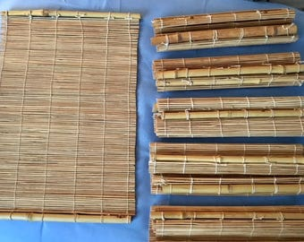 Set of 6 Vintage Bamboo Wood Placemats