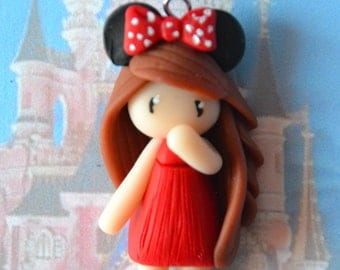 Baby Minnie red dress, brown hair - Disney Collection - jewelry polymer clay handmade