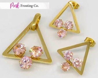 Gold Pendant and Matching Earrings - Champagne Pink Cubic Zirconia